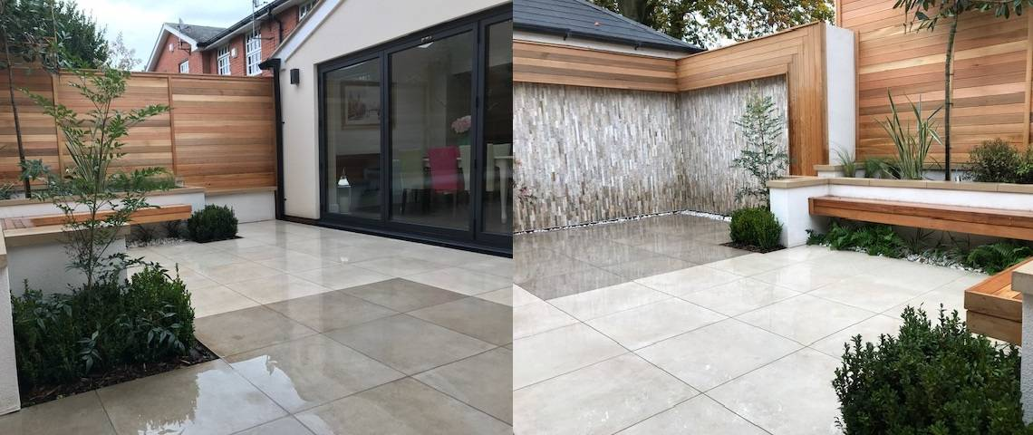 New Growth Gardens Design - Moov Moka and Moov Beige Porcelain Pavers used to create this design